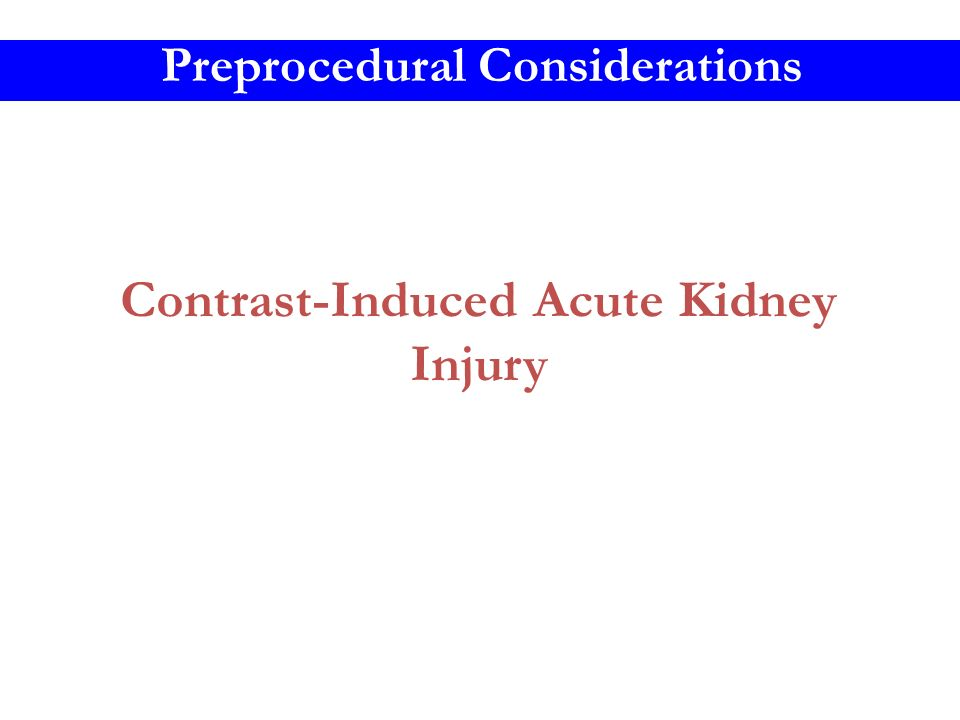 Contrast-Induced Acute Kidney Injury Preprocedural Considerations