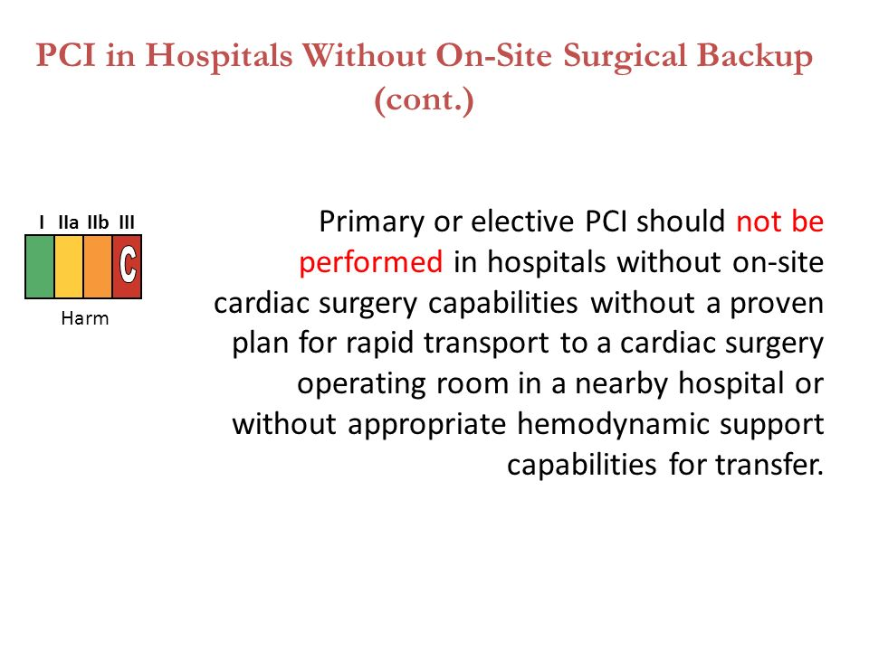 Primary or elective PCI should not be performed in hospitals without on-site cardiac surgery capabilities without a proven plan for rapid transport to a cardiac surgery operating room in a nearby hospital or without appropriate hemodynamic support capabilities for transfer.