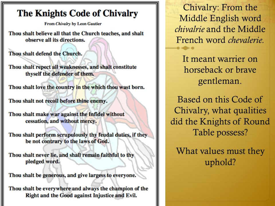 chivalry the code of values of a knight