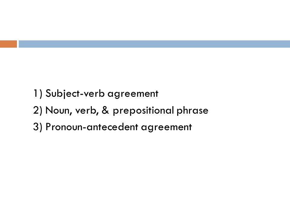 GRAMMAR ENGLISH II Fall Subjectverb agreement 2 Noun verb – Pronoun Antecedent Agreement Worksheet