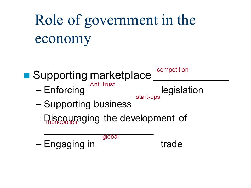 Role of government in the economy Supporting marketplace ____________ –Enforcing _____________ legislation –Supporting business ____________ –Discouraging the development of ____________________ –Engaging in ___________ trade competition Anti-trust start-ups monopolies global