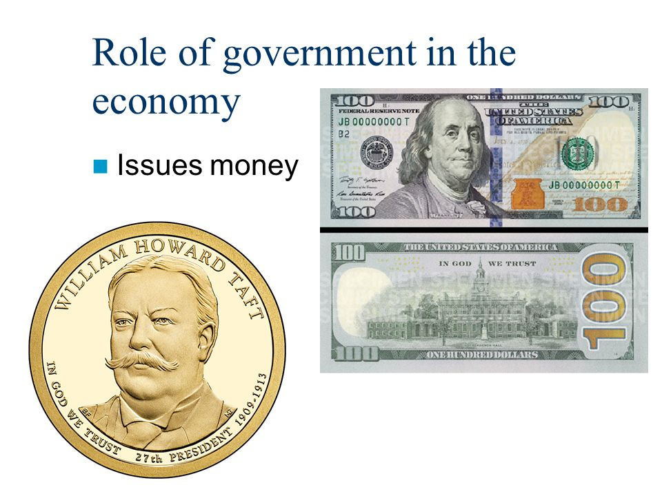 Role of government in the economy Issues money