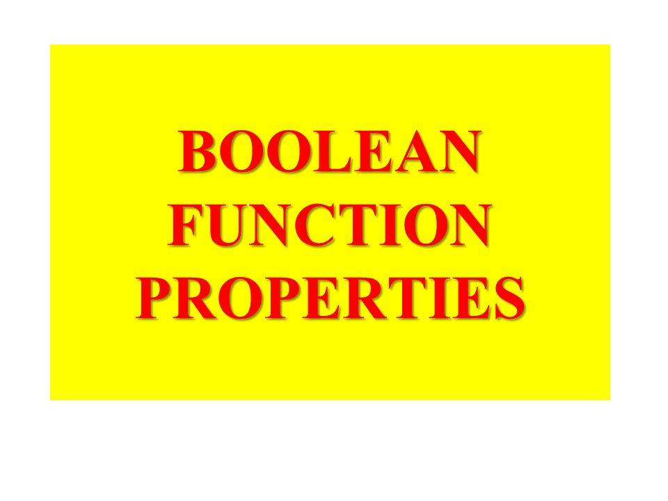 BOOLEAN FUNCTION PROPERTIES