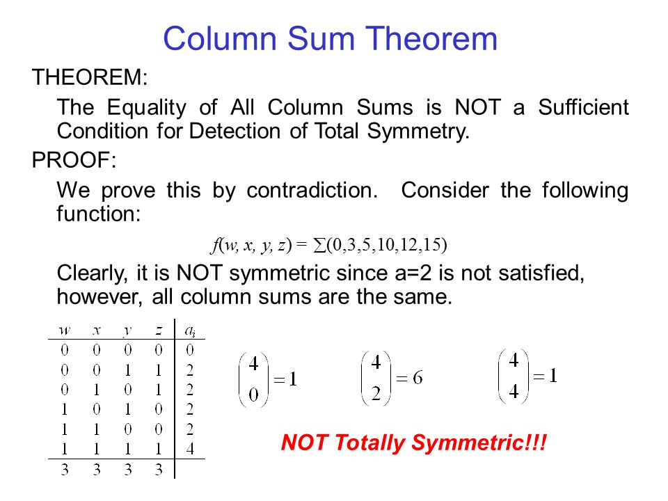 Column Sum Theorem THEOREM: The Equality of All Column Sums is NOT a Sufficient Condition for Detection of Total Symmetry.