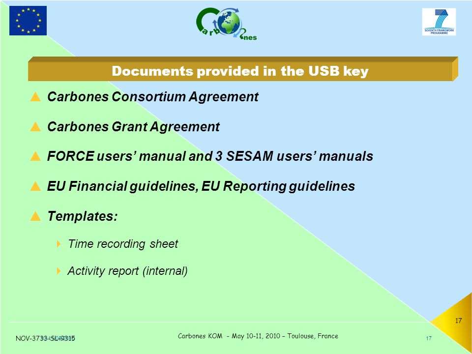 NOV-3733-SL-9315 Carbones KOM - May 10-11, 2010 – Toulouse, France 17  Carbones Consortium Agreement  Carbones Grant Agreement  FORCE users' manual and 3 SESAM users' manuals  EU Financial guidelines, EU Reporting guidelines  Templates:  Time recording sheet  Activity report (internal) 10-11/05/ Documents provided in the USB key