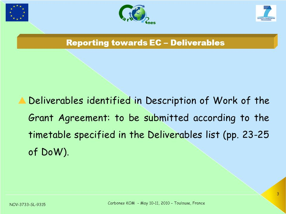 NOV-3733-SL-9315 Carbones KOM - May 10-11, 2010 – Toulouse, France 3  Deliverables identified in Description of Work of the Grant Agreement: to be submitted according to the timetable specified in the Deliverables list (pp.