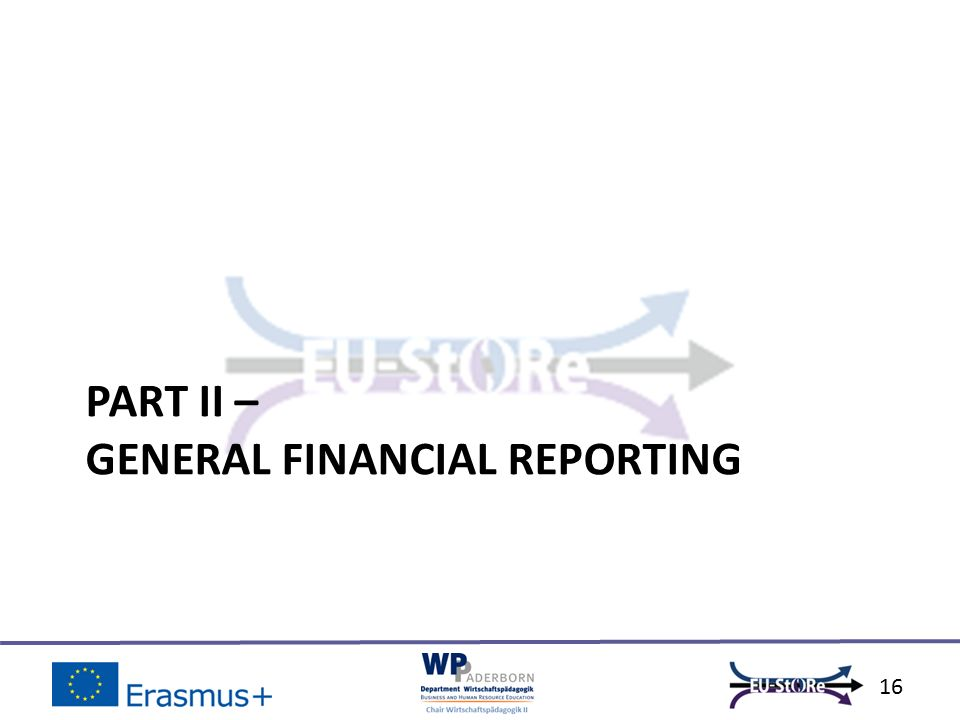 PART II – GENERAL FINANCIAL REPORTING 16