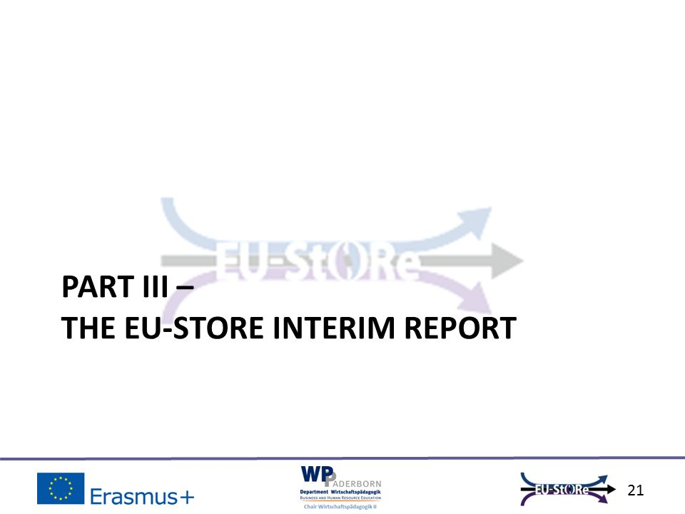 PART III – THE EU-STORE INTERIM REPORT 21