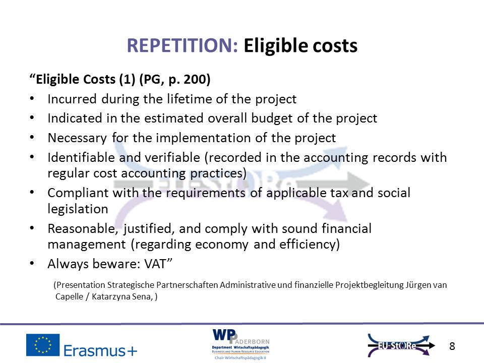 Eligible Costs (1) (PG, p.