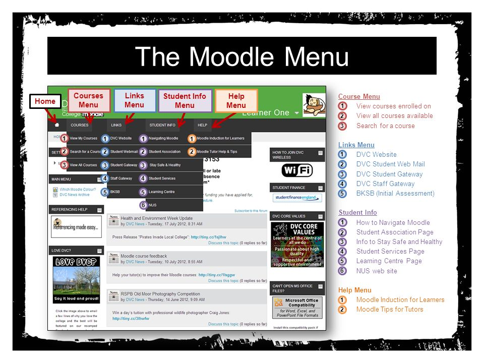 The Moodle Menu Course Menu 1.View courses enrolled on 2.View all courses available 3.Search for a course Links Menu 1.DVC Website 2.DVC Student Web Mail 3.DVC Student Gateway 4.DVC Staff Gateway 5.BKSB (Initial Assessment) Student Info 1.How to Navigate Moodle 2.Student Association Page 3.Info to Stay Safe and Healthy 4.Student Services Page 5.Learning Centre Page 6.NUS web site Help Menu 1.Moodle Induction for Learners 2.Moodle Tips for Tutors Home Courses Menu Links Menu Student Info Menu Help Menu