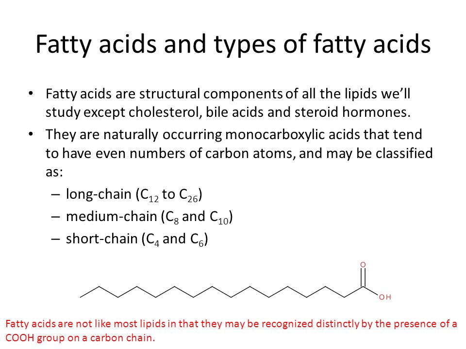 Fatty acids and types of fatty acids Fatty acids are structural components of all the lipids we'll study except cholesterol, bile acids and steroid hormones.