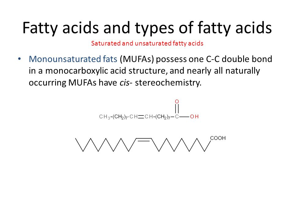 Fatty acids and types of fatty acids Monounsaturated fats (MUFAs) possess one C-C double bond in a monocarboxylic acid structure, and nearly all naturally occurring MUFAs have cis- stereochemistry.