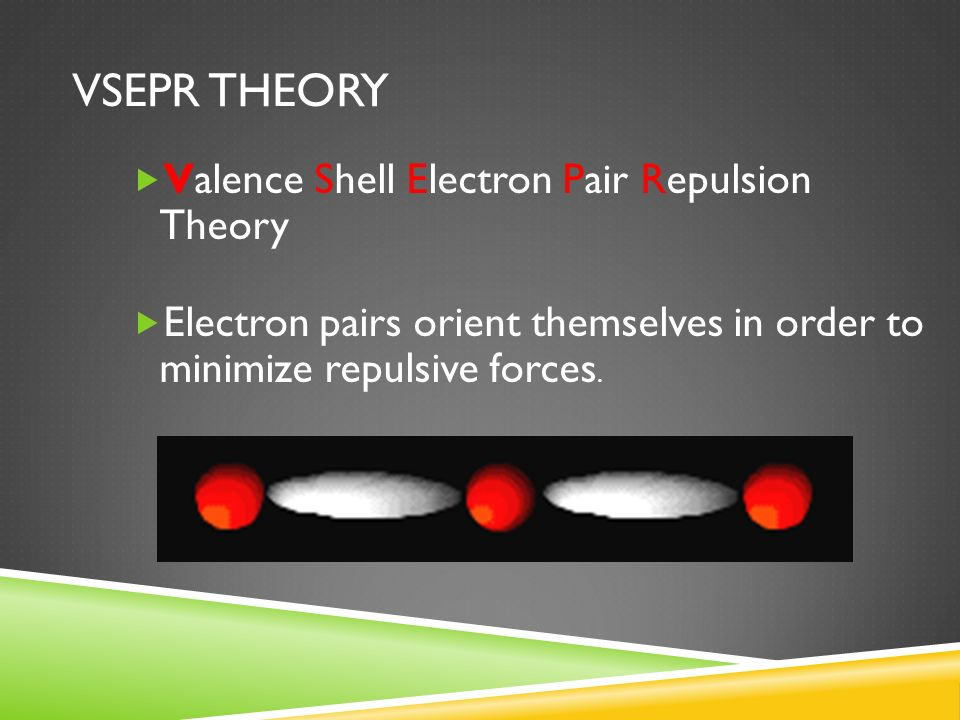 VSEPR THEORY  Valence Shell Electron Pair Repulsion Theory  Electron pairs orient themselves in order to minimize repulsive forces.
