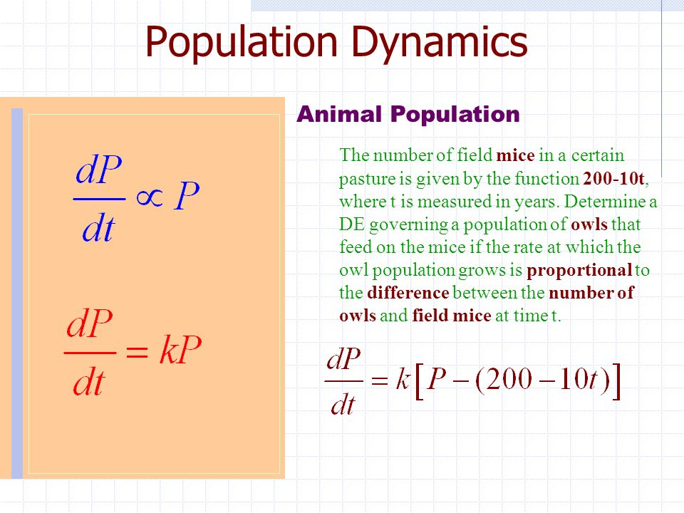 the equations related to models of population The logistic equation 81 correct your prediction for 1950 using the logistic model of population growth (help: with this data k = 0031476 in the logistic model.