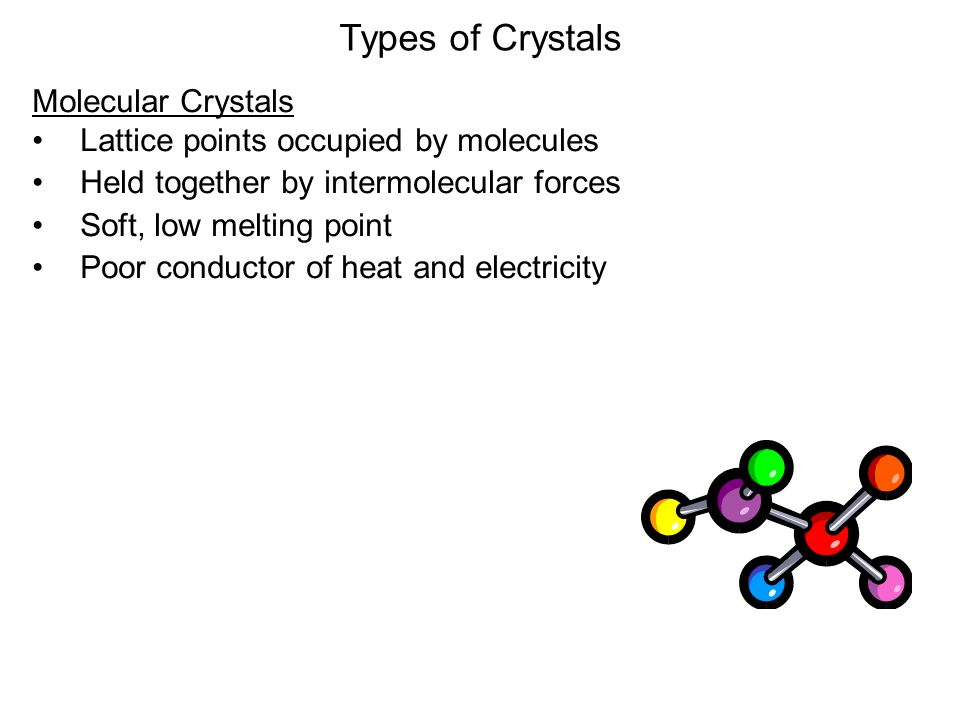 Types of Crystals Molecular Crystals Lattice points occupied by molecules Held together by intermolecular forces Soft, low melting point Poor conductor of heat and electricity