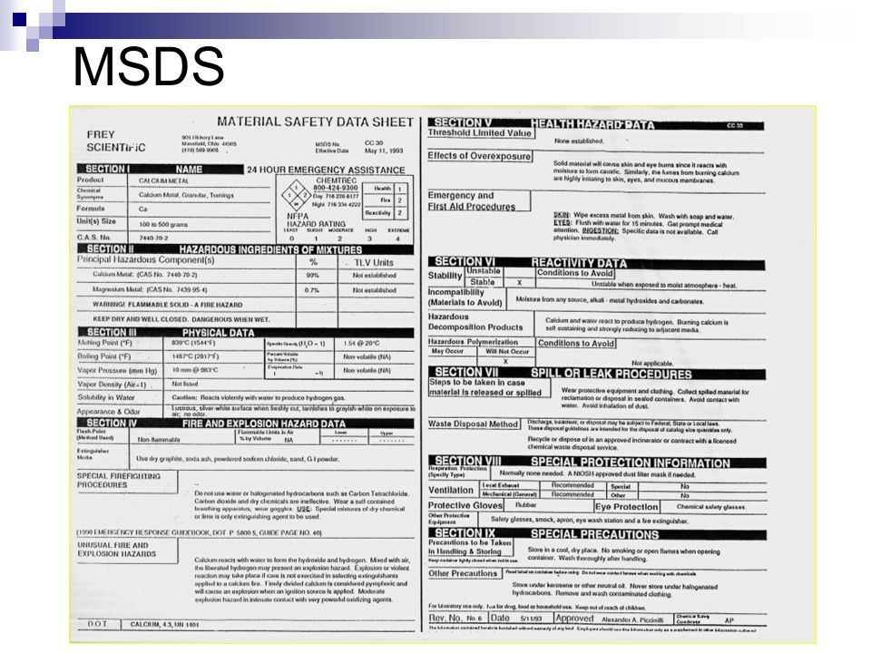 LABORATORY SAFETY Chemical Hazard Label What is a MSDS sheet A – Msds Worksheet