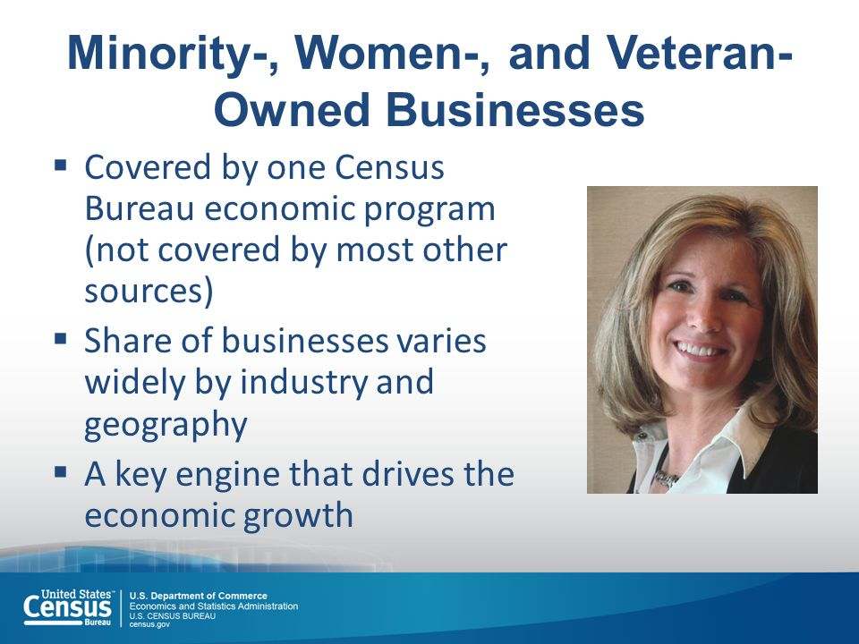 Minority-, Women-, and Veteran- Owned Businesses  Covered by one Census Bureau economic program (not covered by most other sources)  Share of businesses varies widely by industry and geography  A key engine that drives the economic growth