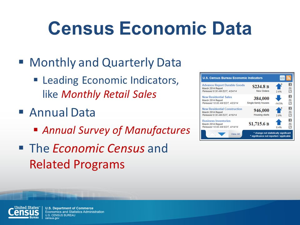 Census Economic Data  Monthly and Quarterly Data  Leading Economic Indicators, like Monthly Retail Sales  Annual Data  Annual Survey of Manufactures  The Economic Census and Related Programs