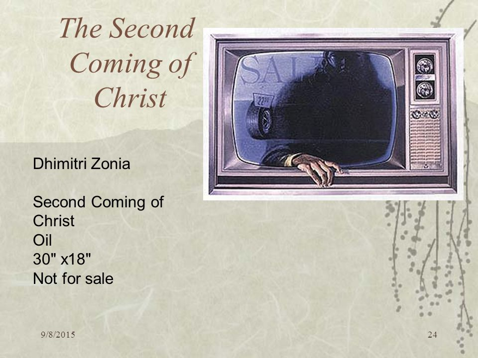 9/8/ The Second Coming of Christ Dhimitri Zonia Second Coming of Christ Oil 30 x18 Not for sale
