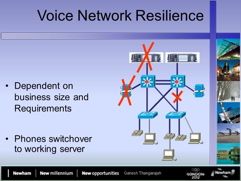 Voice Network Resilience Dependent on business size and Requirements Phones switchover to working server