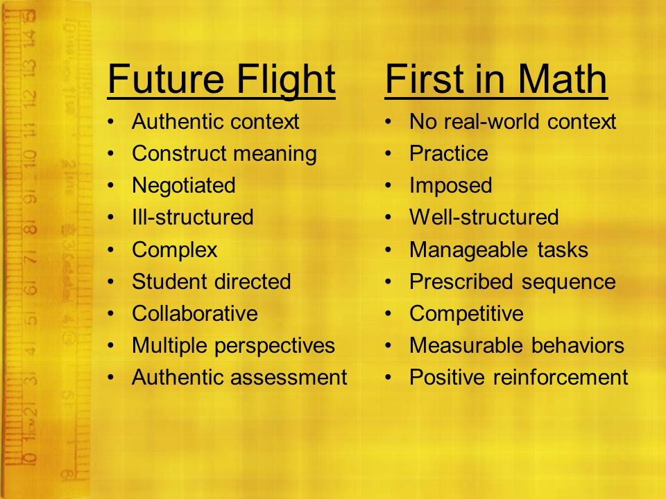 Future Flight Authentic context Construct meaning Negotiated Ill-structured Complex Student directed Collaborative Multiple perspectives Authentic assessment First in Math No real-world context Practice Imposed Well-structured Manageable tasks Prescribed sequence Competitive Measurable behaviors Positive reinforcement