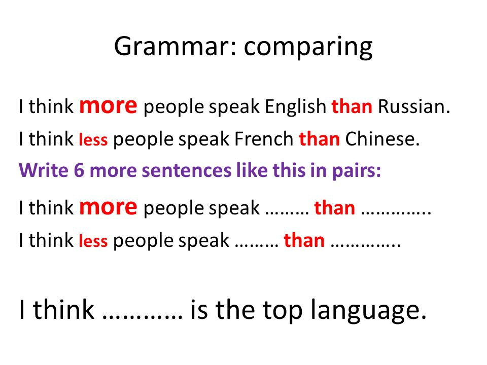 Grammar: comparing I think more people speak English than Russian.