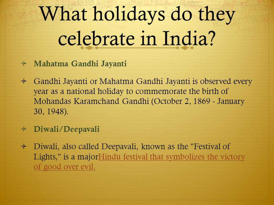 What holidays do they celebrate in India.
