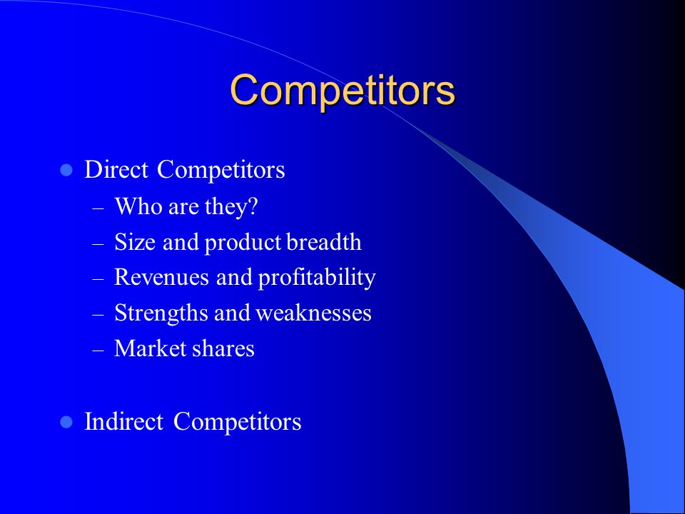 Competitors Direct Competitors – Who are they.