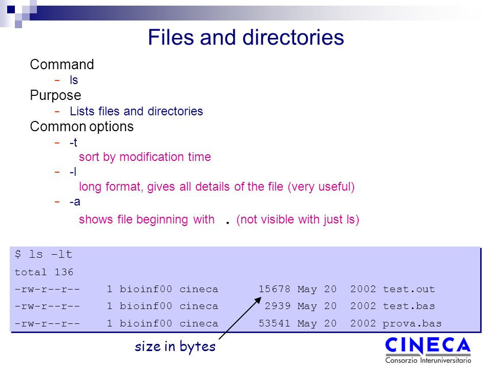 Files and directories Command − ls Purpose − Lists files and directories Common options − -t sort by modification time − -l long format, gives all details of the file (very useful) − -a shows file beginning with.