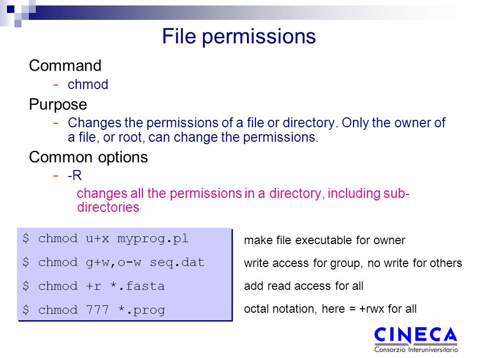 File permissions Command − chmod Purpose − Changes the permissions of a file or directory.