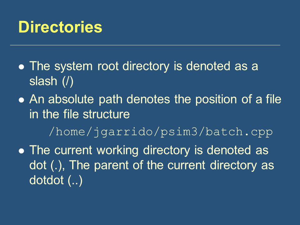 Directories The system root directory is denoted as a slash (/) An absolute path denotes the position of a file in the file structure /home/jgarrido/psim3/batch.cpp The current working directory is denoted as dot (.), The parent of the current directory as dotdot (..)