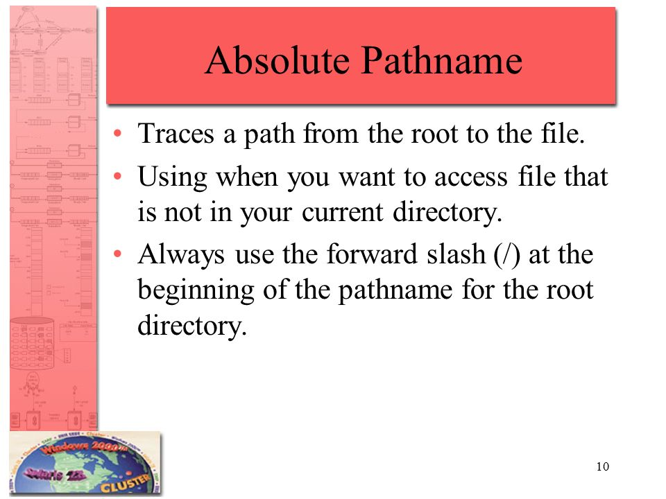10 Absolute Pathname Traces a path from the root to the file.
