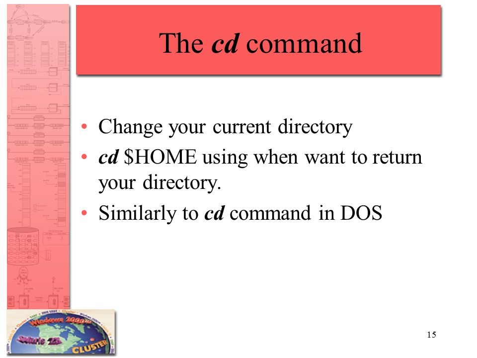 15 The cd command Change your current directory cd $HOME using when want to return your directory.