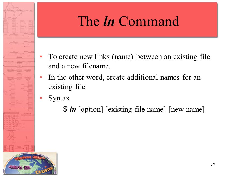 25 The ln Command To create new links (name) between an existing file and a new filename.