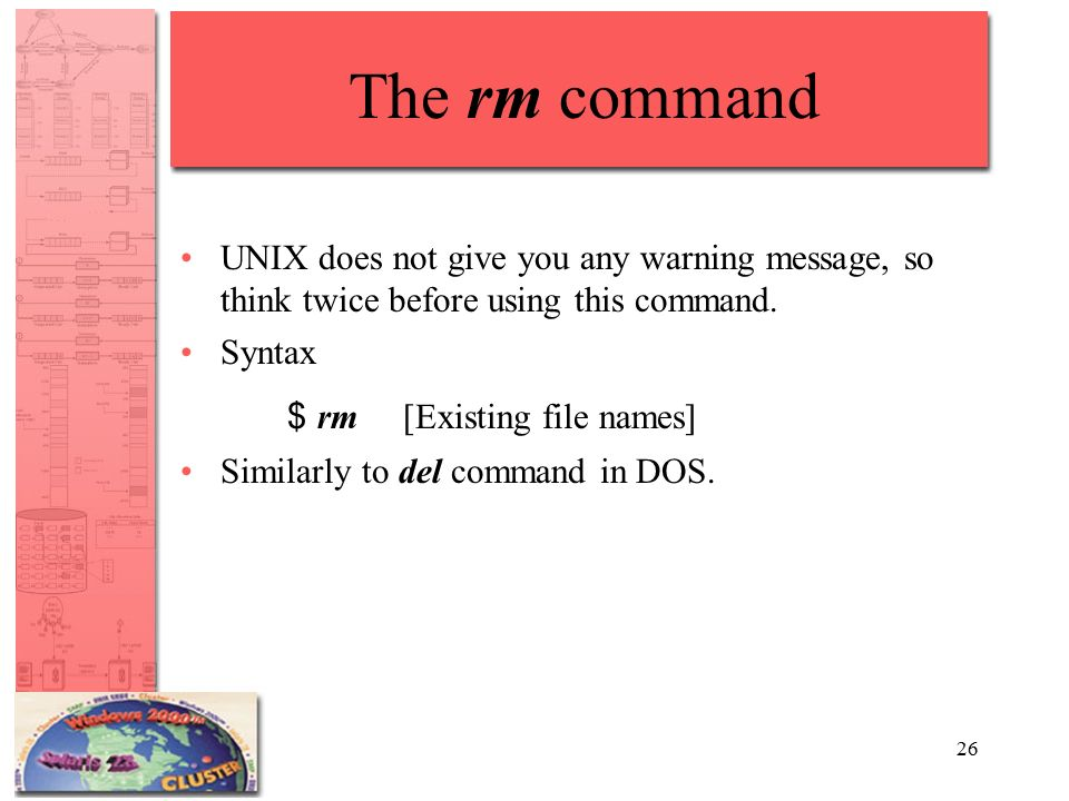 26 The rm command UNIX does not give you any warning message, so think twice before using this command.