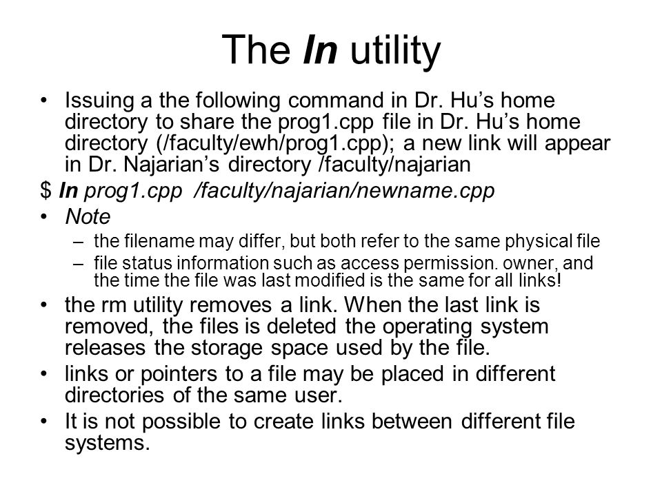 The ln utility Issuing a the following command in Dr.