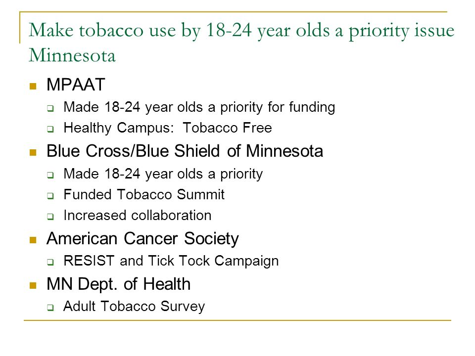 Make tobacco use by 18-24 year olds a priority issue Minnesota MPAAT  Made 18-24 year olds a priority for funding  Healthy Campus: Tobacco Free Blue Cross/Blue Shield of Minnesota  Made 18-24 year olds a priority  Funded Tobacco Summit  Increased collaboration American Cancer Society  RESIST and Tick Tock Campaign MN Dept.