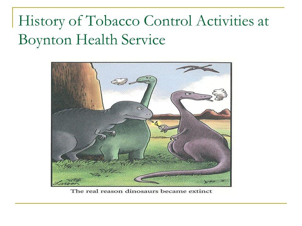 History of Tobacco Control Activities at Boynton Health Service