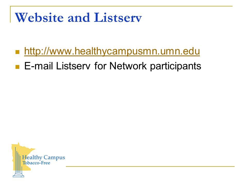 Website and Listserv http://www.healthycampusmn.umn.edu E-mail Listserv for Network participants