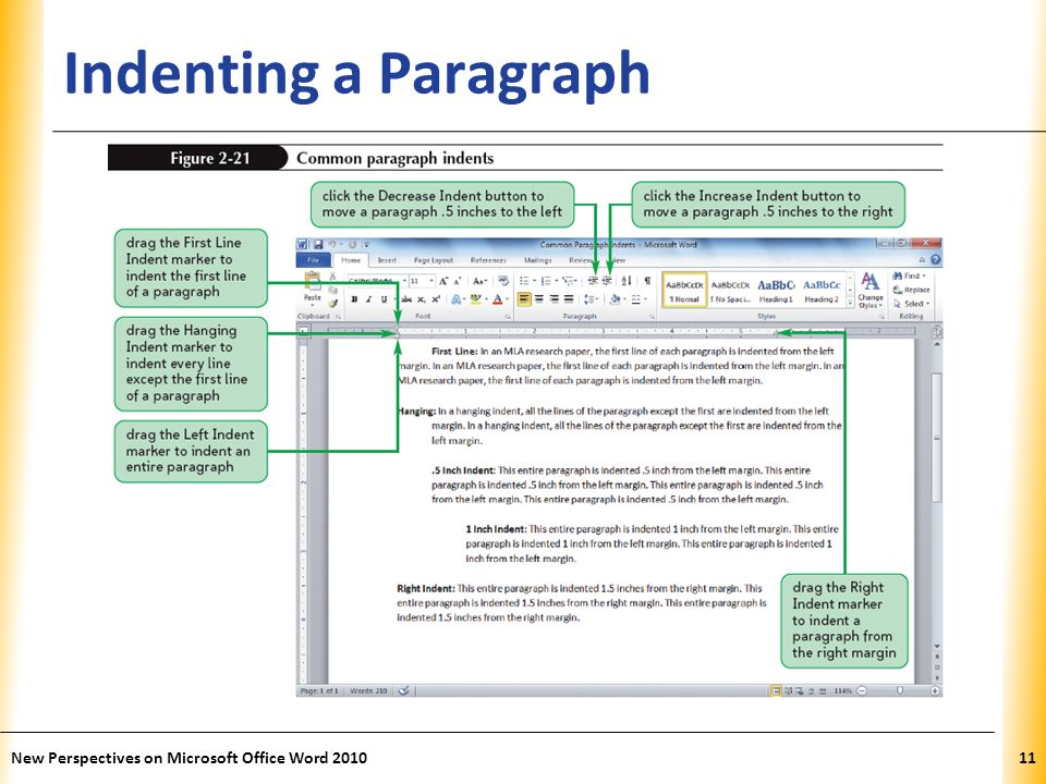 XP Indenting a Paragraph New Perspectives on Microsoft Office Word