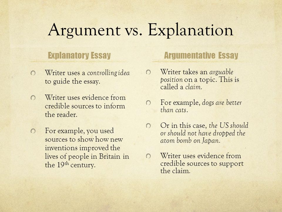writing an argumentative essay the united states decision to drop  argumentative essay argument vs explanation explanatory essay writer uses a controlling idea to guide the essay
