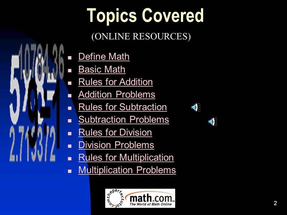 1 Review Basic Math Concepts 2 Topics Covered Define Math Basic Math ...