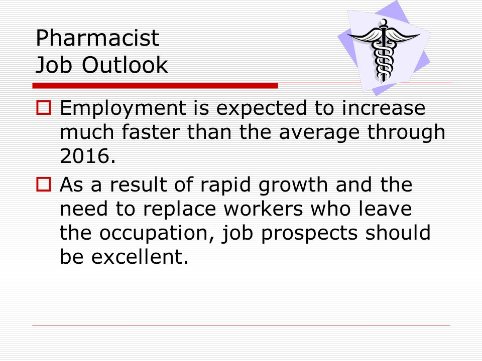 Field of Pharmacy Essential Question How do the roles – Job Outlook Pharmacy