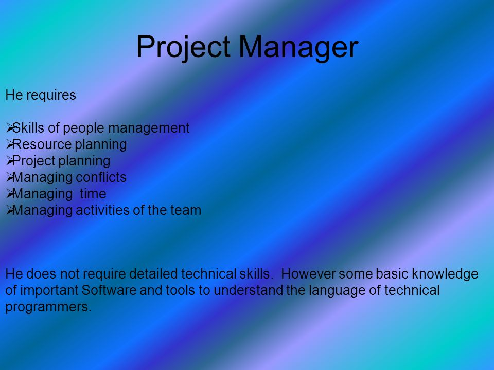 Project Manager He does not require detailed technical skills.
