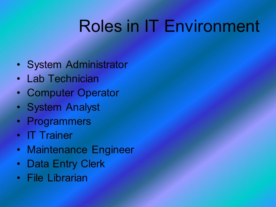 Roles in IT Environment System Administrator Lab Technician Computer Operator System Analyst Programmers IT Trainer Maintenance Engineer Data Entry Clerk File Librarian