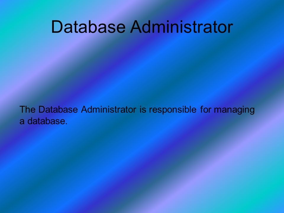 Database Administrator The Database Administrator is responsible for managing a database.