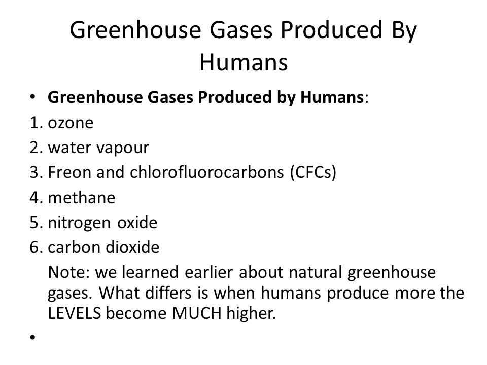 Greenhouse Gases Produced By Humans Greenhouse Gases Produced by Humans: 1.ozone 2.water vapour 3.Freon and chlorofluorocarbons (CFCs) 4.methane 5.nitrogen oxide 6.carbon dioxide Note: we learned earlier about natural greenhouse gases.