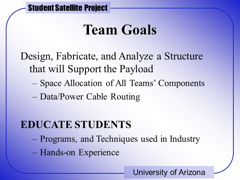 Student Satellite Project University of Arizona Team Goals Design, Fabricate, and Analyze a Structure that will Support the Payload –Space Allocation of All Teams' Components –Data/Power Cable Routing EDUCATE STUDENTS –Programs, and Techniques used in Industry –Hands-on Experience