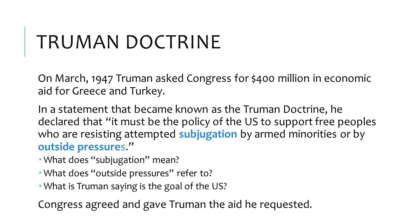 truman doctrine thesis statement