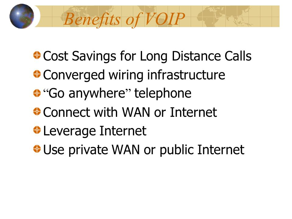 What is VOIP Telephone service over data networks Transporting voice conversations via data packets Utilizes the ubiquitous Internet Protocol Hence Voice Over IP